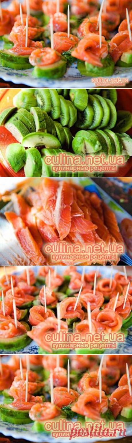 Канапе с красной рыбой - рецепты с фото