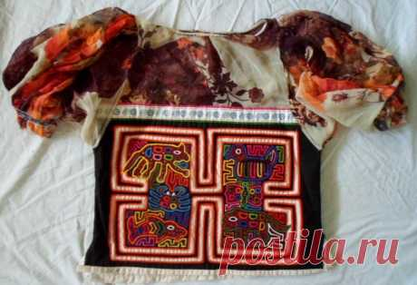 Kuna Indian Hand & Machine-Stitched Animal MoIa Blouse-Panama 18040314L | eBay