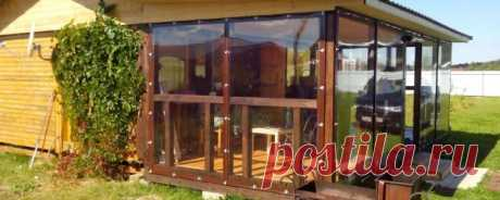 Мягкие окна для веранды: жидкое или гибкое остекление для террасы, рулонные окна из ПВХ, как выбрать прозрачный материал вместо стекла, фото и отзывы  Мягкие окна для веранды: гибкое остекление ПВХ-плёнкой, преимущества и недостатки материала, произведение замеров и монтажа гибких штор.