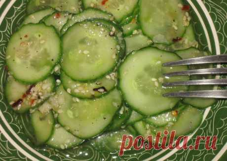 Корейский салат из свежих огурцов - пошаговый рецепт с фото. Автор рецепта emir . - Cookpad