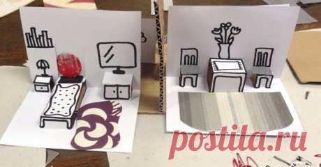 Трехмерные открытки-домики своими руками — I Love Hobby — Лучшие мастер-классы со всего мира!