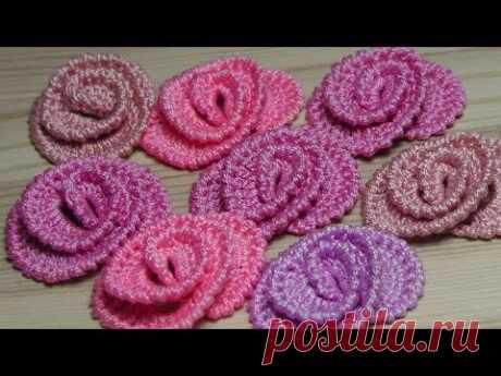 Как связать маленькие РОЗОЧКИ - урок вязания крючком - crochet flower roses