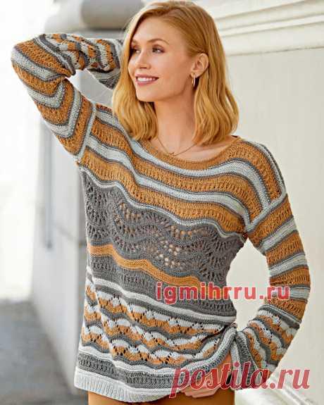 Пуловер с сочетанием уоров и тапочки - следочки спицами