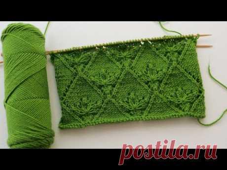 Узор «Трилистник в ромбах» спицами ☘ «Shamrock in rhombuses» knitting pattern