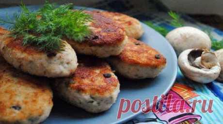 Бесподобные куриные котлеты с грибами по редкому рецепту   Четыре вкуса
