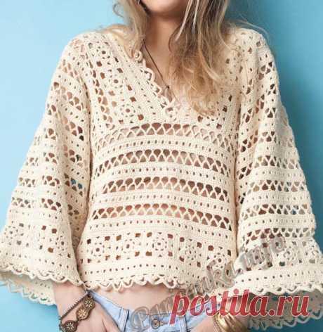 Бежевый пуловер крючком узором и мотивами.