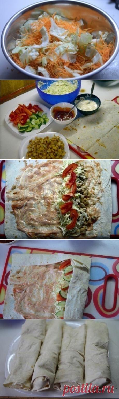 Как приготовить рецепт шаурмы с курицей - рецепт, ингредиенты и фотографии