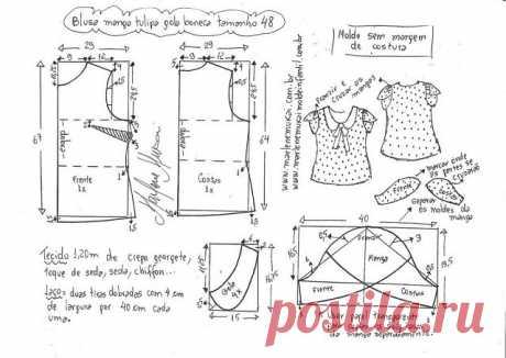 Блузка рукава тюльпан. Размеры 36-56(евро). Выкройки (Шитье и крой) – Журнал Вдохновение Рукодельницы