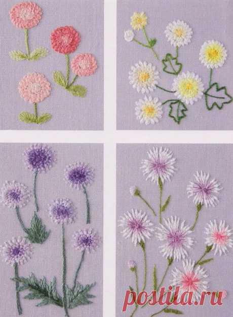 Как вышить цветы с раскрытыми лепестками простыми швами — Рукоделие