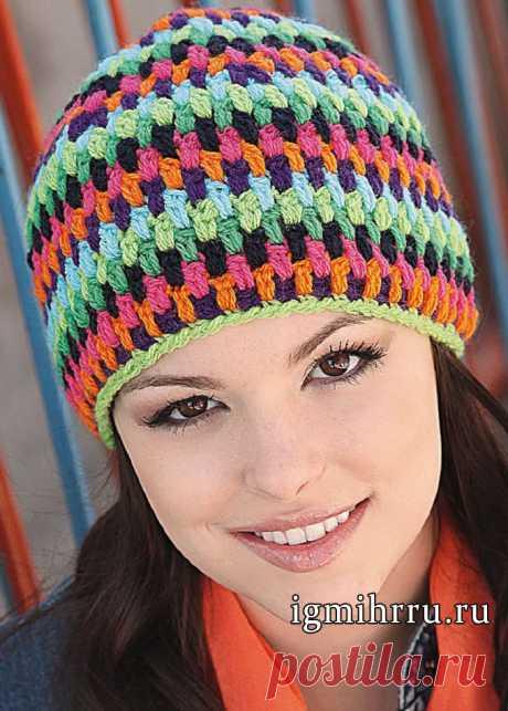 Разноцветная шапочка бини. Вязание крючком