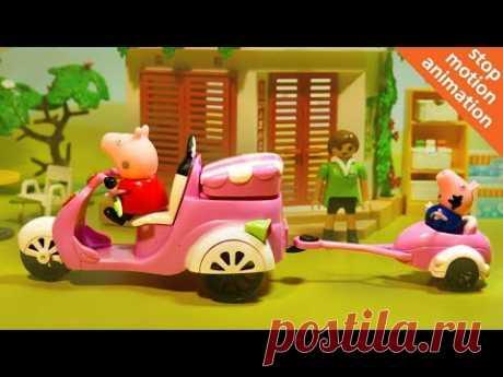 Свинка Пеппа развозит продукты на мотоцикле. Мультфильм из игрушек Свинка Пеппа. stop motion - YouTube