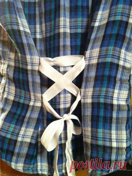 БУЛАВКИ И ЛЕНТА !!!  *Блуза DIY - декор спинки.