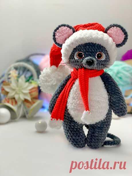 """Мастер-класс """"Мышонок"""" вязаный крючком, схема вязания крючком, описание вязания мышка, Плюшевая игрушка новый год, новогодний подарок, амигуруми схема, LanaMi toys"""