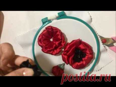 Poppy and the bud of poppy embroidered with satin ribbons