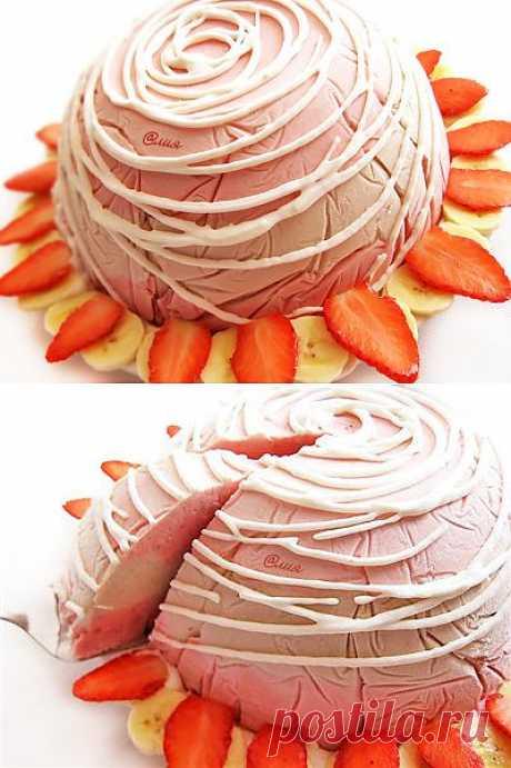 285. Клубнично-банановый торт-мороженое