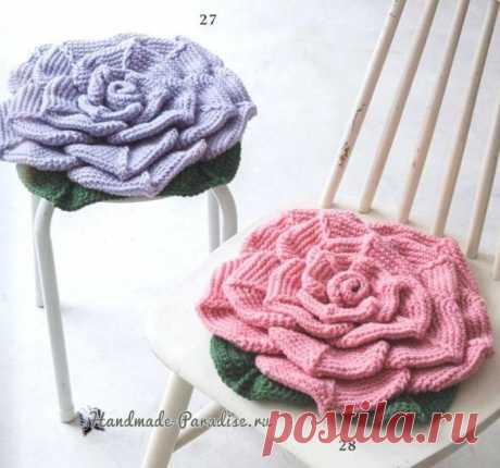 Подушка-сидушка «Роза» крючком