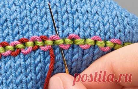 Приемы украшения вязаного полотна вышивкой — Делаем руками