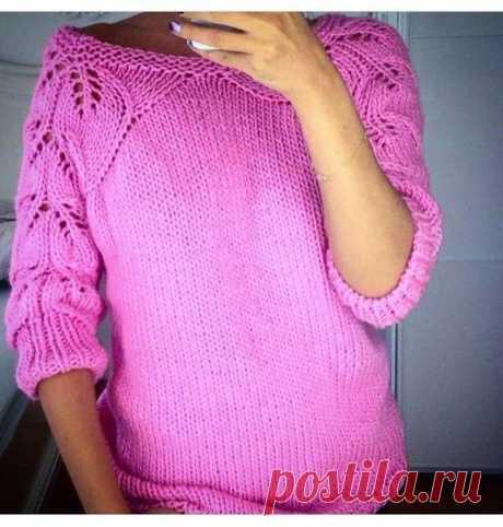 Кофта с ажурными рукавами   Вязание для женщин   Вязание спицами и крючком. Схемы вязания.