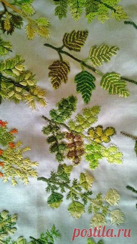 (2) The sea of ideas - needlework, a decor of the house, a hand-made article and hand made. One leaves and trees — different technicians of an embroidery