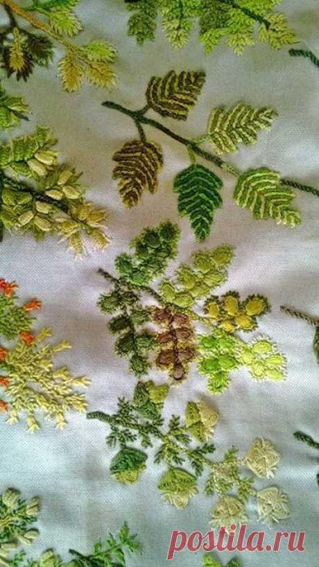 (2) Море идей - рукоделие, декор дома, поделки и hand made. Одни листья и деревья — разные техники вышивки