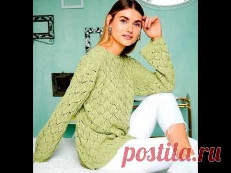 Стильный, эффектный пуловер ажурным узором.