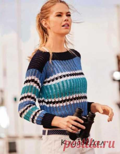 Короткий пуловер с горловиной-лодочкой Захватывающая расцветка: короткий пуловер с широкой горловиной-лодочкой хорош не только контрастными полосами,но и воздушным ажурным узором, который будет по плечу и начинающим вязальщицам.Размеры: 36/38 (40/42) 44/46Вам потребуется: пряжа (100% хлопка; 135 м/50 г) - по 100 (150) 150 г темно-синей