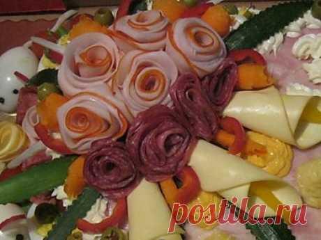 Как украсить блюда. Как сделать цветы из колбасы, ветчины или рыбы. | Рецепты моей мамы