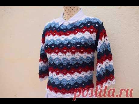 Связать свитер на весну с 4-мя прямоугольниками крючком очень легко. Все размеры. С графикой