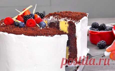 Шоколадный торт с нежной кремовой начинкой   Рецепты на SuperKuhen.ru