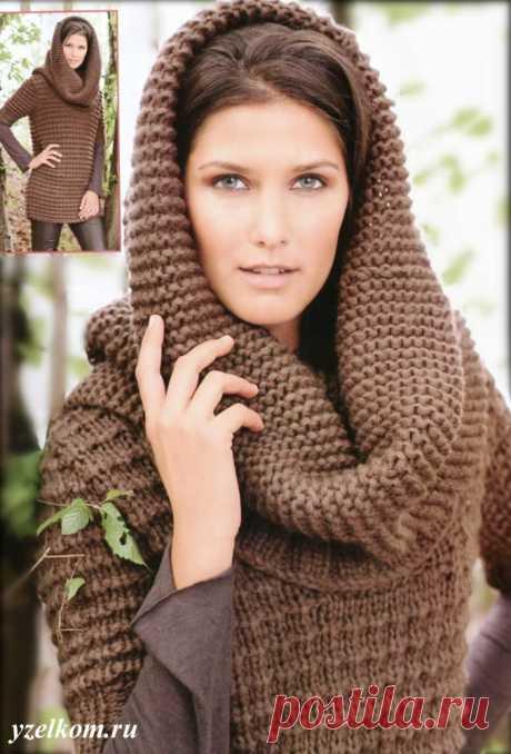 Капор и длинный пуловер