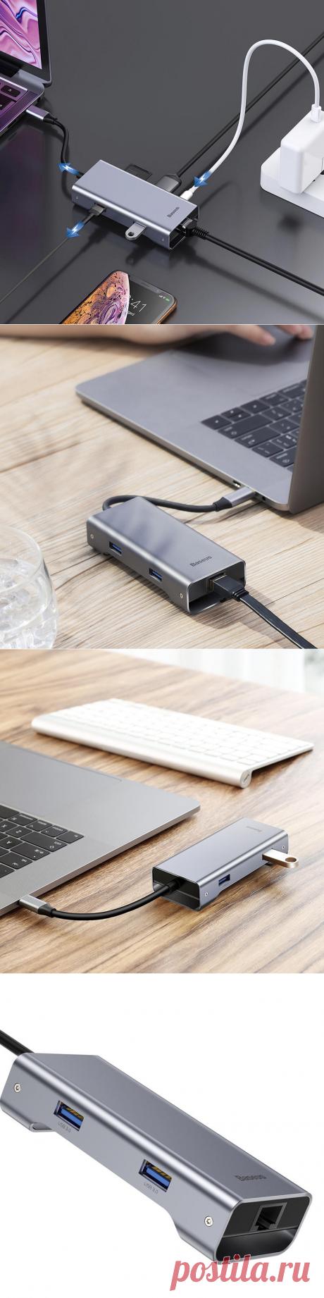 baseus 7-in-1 usb-c type-c usb hub adapter with 2 usb 3.0 ports/usb-c pd charging port/rj45 gigabit ethernet port/4k hd/memory card reader Sale