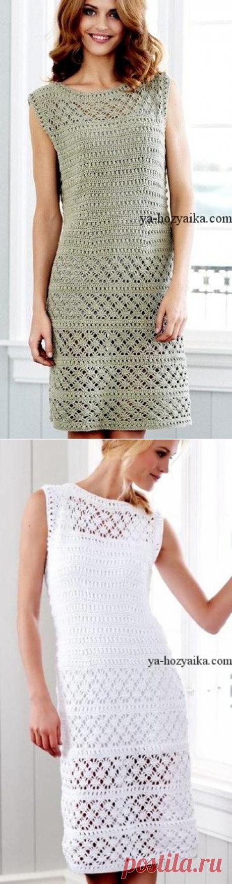 Вязаное белое платье крючком. Белое вязание платье крючком схемы
