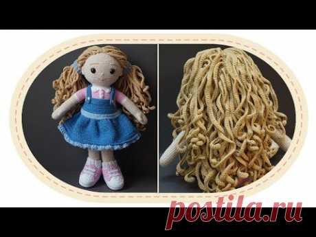 Вязаная кукла крючком Розали, часть 9 (Волосы, ч.2). Crochet doll Rosalie, part 9 (Hair, p.2).