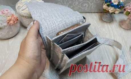 Как сшить льняную сумку под документы и телефон   Журнал Ярмарки Мастеров