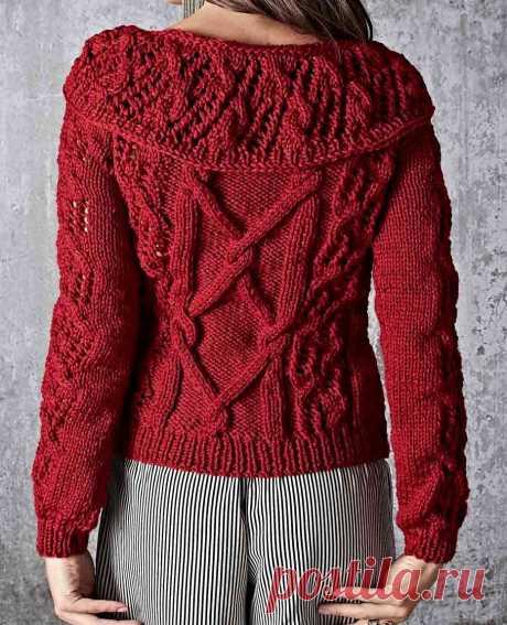 Вязание крючком и спицами - Пуловер с воротником фантазийным узором