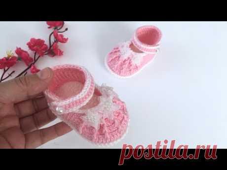 Tığ İşi Kız Bebek Ayakkabı/3-6 ay/Kolay Patik/Babybooties/Baby Shoes/Baby Crochet shoes