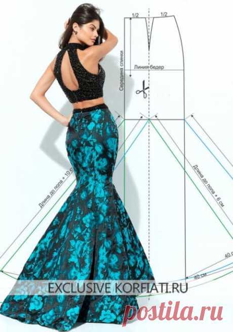 Выкройка длинной юбки годе от Анастасии Корфиати