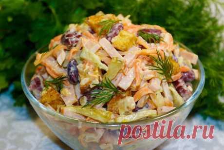 Неожиданно вкусный салат с фасолью: простой рецепт на скорую руку   Мастерская идей   Яндекс Дзен