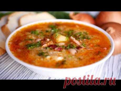 """Суп """"Посольский"""". Сытный и Простой Суп на каждый день Ингредиенты на 2,5 л воды: 1 стакан фасоли; 200 грамм ветчины; 1 луковица; 1 морковка; 5-6 картофелин; 1 ст.л. томатной пасты; соль; перец; растительное масло."""