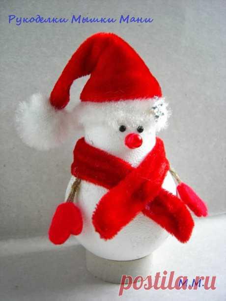 Снеговичок из лампочки: озаряет счастьем — Сделай сам, идеи для творчества - DIY Ideas