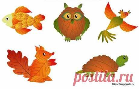 Картины из осенних листьев. Аппликации из осенних листьев :: Детские поделки