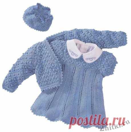 Болеро, платье, шапочка для девочки - схемы вязания крючком и спицами - Две Нитки