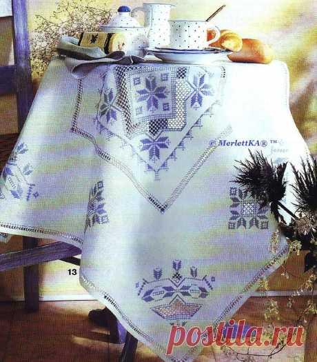 Строчевая вышивка - хардангер