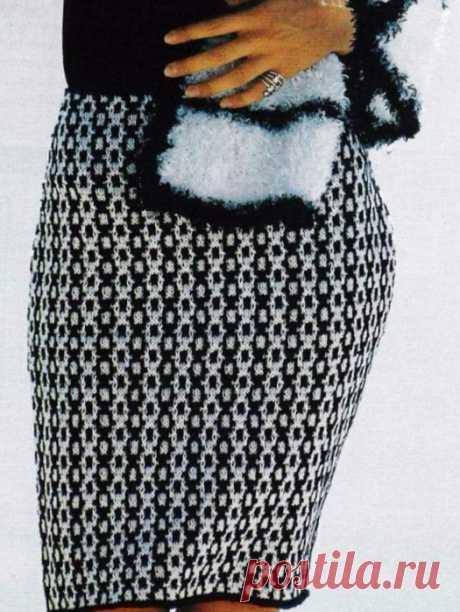 Двухцветная юбка спицами схема. Связать юбку карандаш спицами |