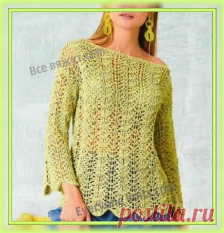 Ажурный пуловер спицами с описанием и схемой узора. | Все вяжут.сом/Everyone knits.com | Яндекс Дзен
