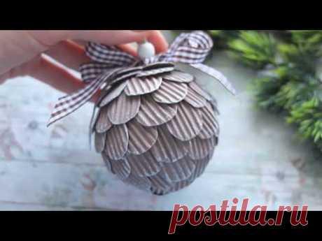 Елочный шар  из гофро картона мастер класс/шар на елку своими руками - YouTube
