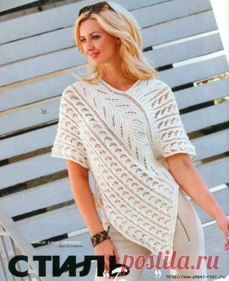 Модная белая туника с изумительно красивым узором