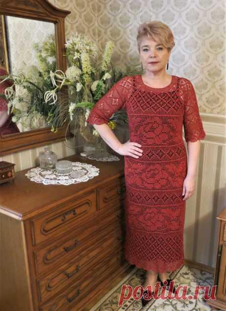 Филейное платье « Коралловые розы» - Lilia Vignan
