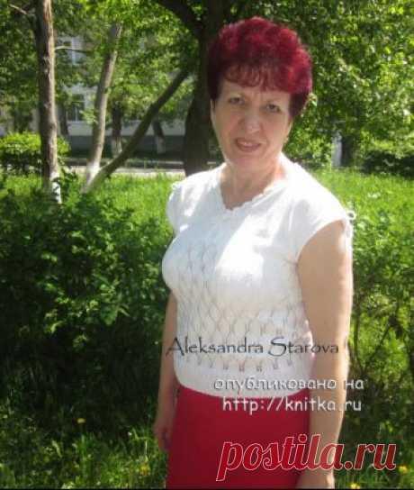 Летняя кофточка спицами – работа Александры Старовой,  Вязание для женщин Здравствуйте! Меня зовут Александра. Связала себе новую кофточку на лето и решила вам ее показать. Пряжа РОМАШКА 100% хлопок. Связана спицами №