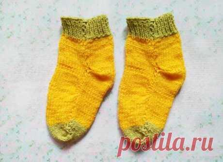 Утепляем ножки ребенка. Как быстро связать носки на двух спицах » «Хомяк55» - всё о вязании спицами и крючком
